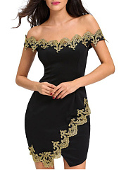 Off Shoulder  Decorative Lace  Plain Bodycon Dress