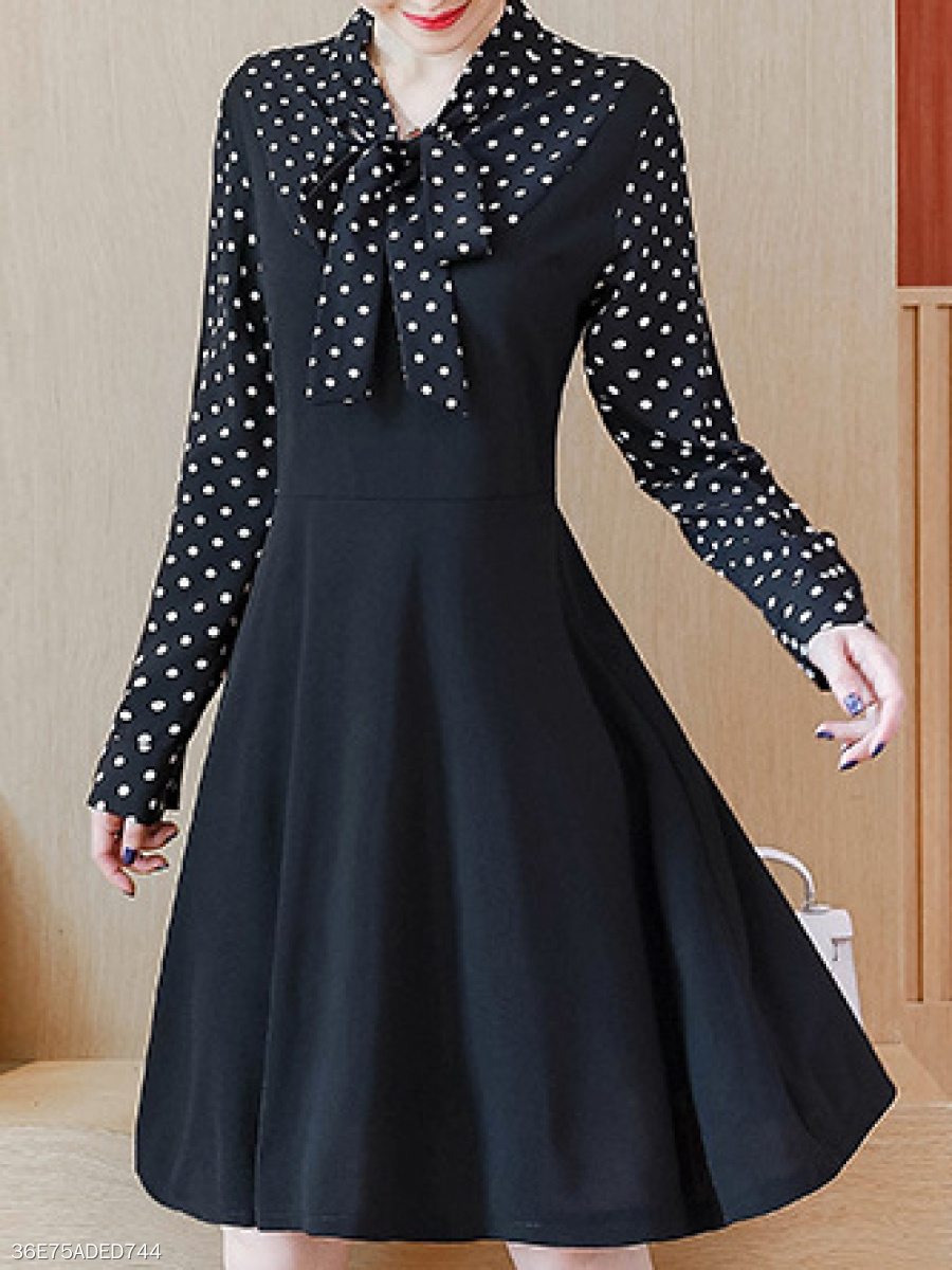 Tie Collar  Fake Two-Piece  Colouring Polka Dot Skater Dress