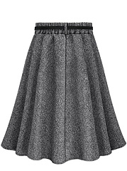 Plain Belt Elastic Waist Woolen Flared Midi Skirt