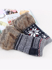 Faux Fur Knitted Screen Touch Half Fingerless Gloves
