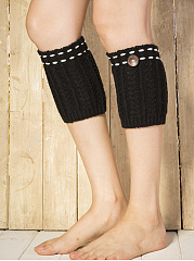 Constrast Stitching Knit Leg Warmers