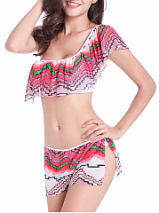 One Shoulder Flounce Zigzag Striped Bikini