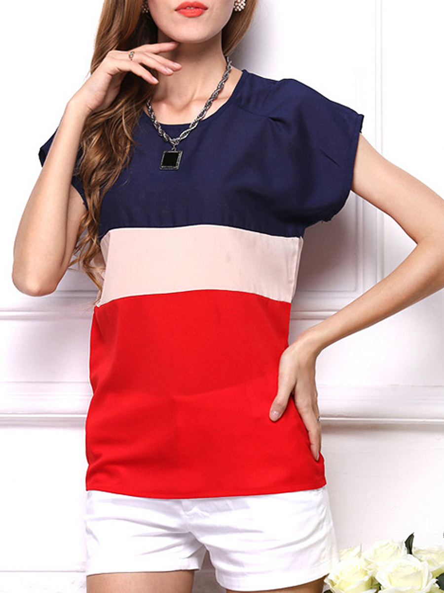 Color Block Striped Round Neck Blouse