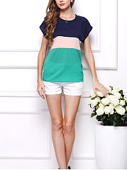 Summer  Blend  Women  Round Neck  Color Block Striped  Extra Short Blouses