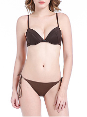 Halter-Plain-Underwire-Push-Up-Bikini