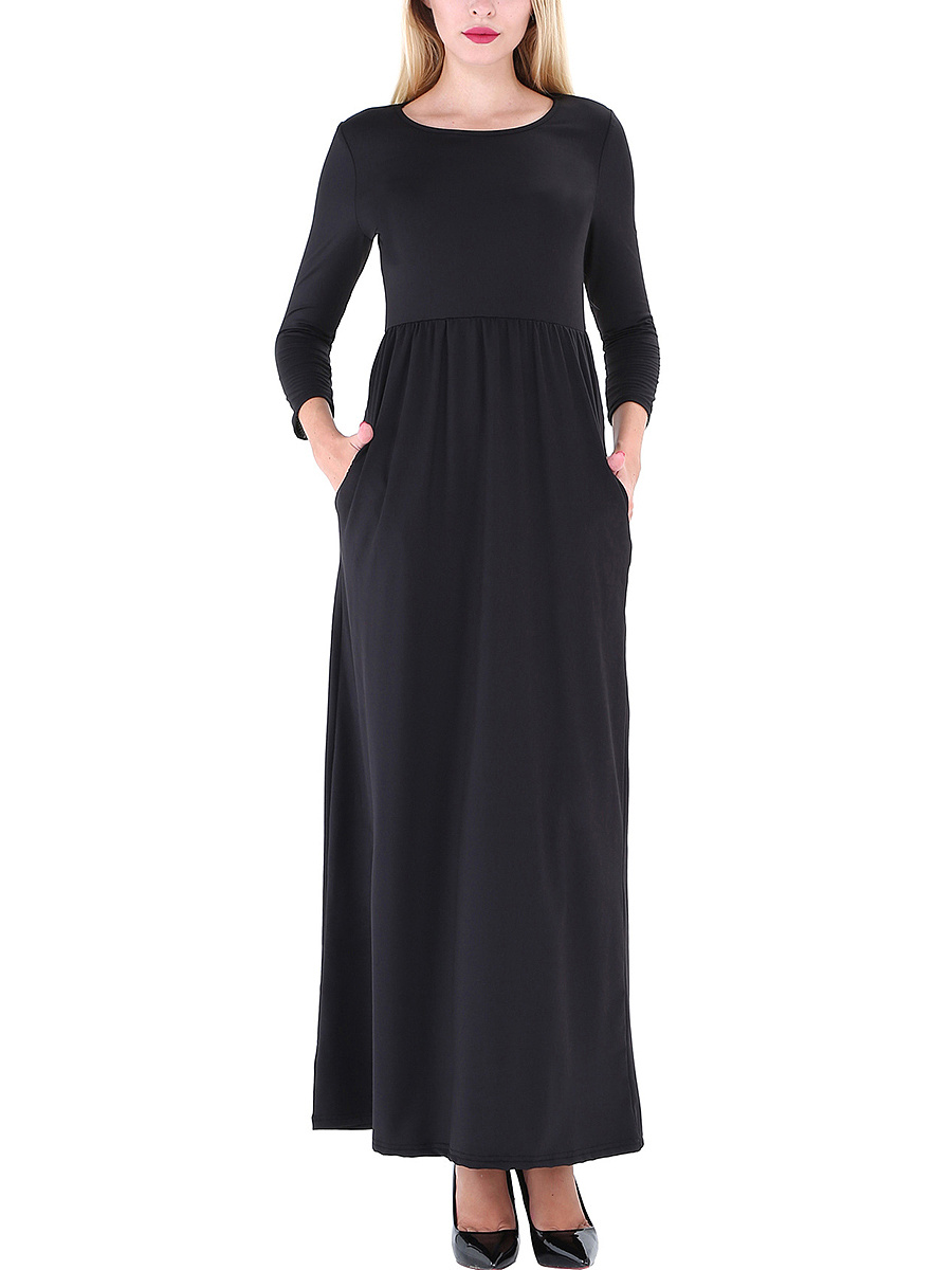 Round Neck Plain Pocket Maxi Dress