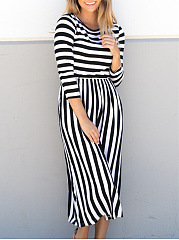 Round Neck  Patchwork  Asymmetric Stripe Plus Size Midi  Maxi Dress