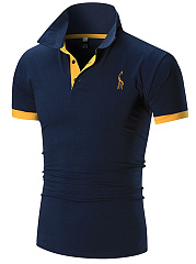 Polo Collar  Embroidery  Short Sleeve Polos