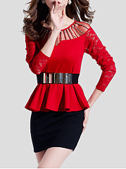 Round Neck Beading Peplum Patchwork Hollow Out Bodycon Dress