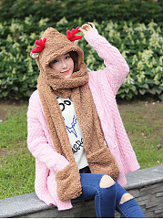 Christmas Reindeer Winter Thicken Scarf Wrap Hat Gloves Set One Piece Wollen Ourdoors Long Hooded Scarfs Gloves