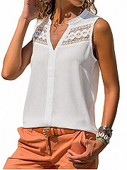 Band Collar  Decorative Lace  Plain  Sleeveless Blouse