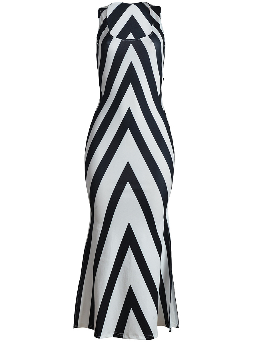 Scoop Neck Cutout Side Slit Asymmetric Stripe Maxi Dress