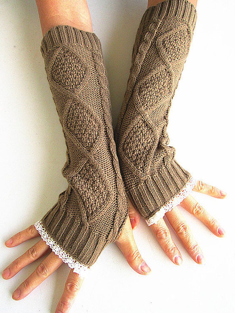 Lace Knitted Warm Fingerless Gloves