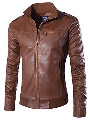 Men-Band-Collar-PU-Leather-Plain-Biker-Jacket
