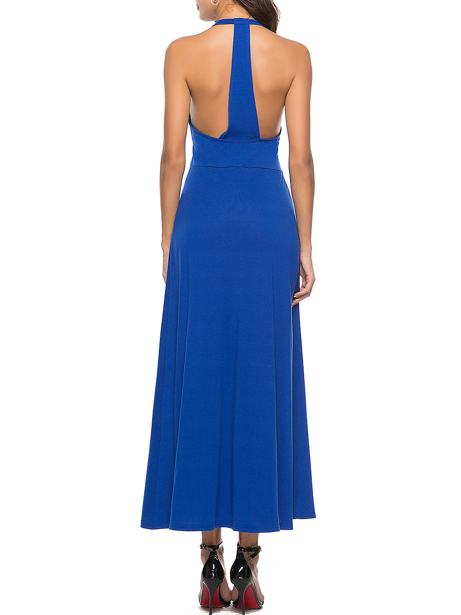 V-Neck  High Slit  Plain Maxi Dress