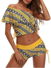 Yellow Off Shoulder Lightweight Bohemian High-Rise Women Bikini