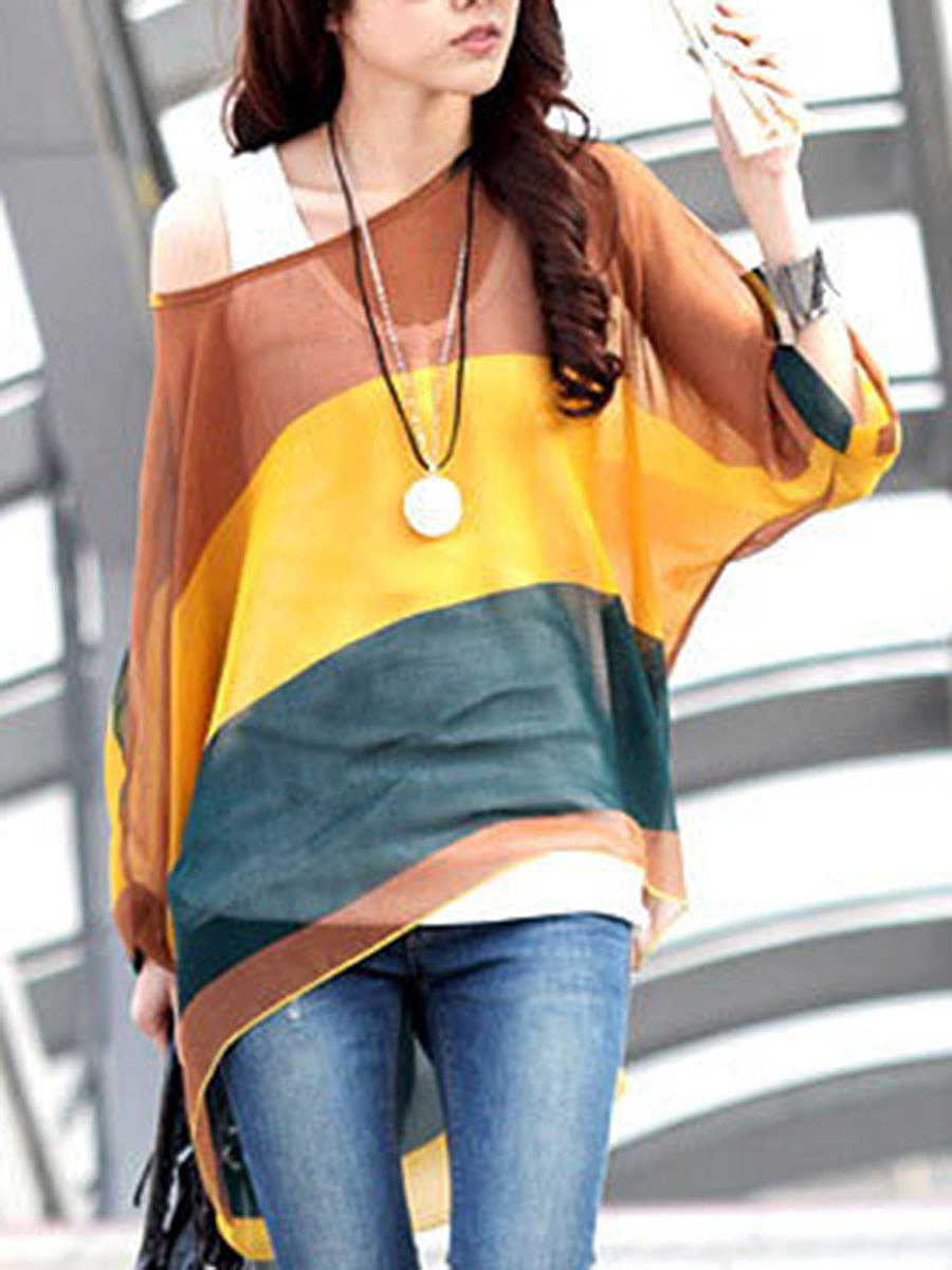 One Shoulder  See-Through  Striped  Batwing Sleeve Tunic