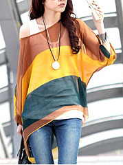One-Shoulder-See-Through-Striped-Batwing-Sleeve-Tunic