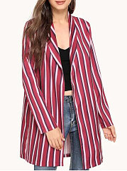 Fold-Over Collar  Striped  Long Sleeve Trench Coats