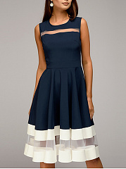 Round Neck  Patchwork  Colouring Plain Skater Dress