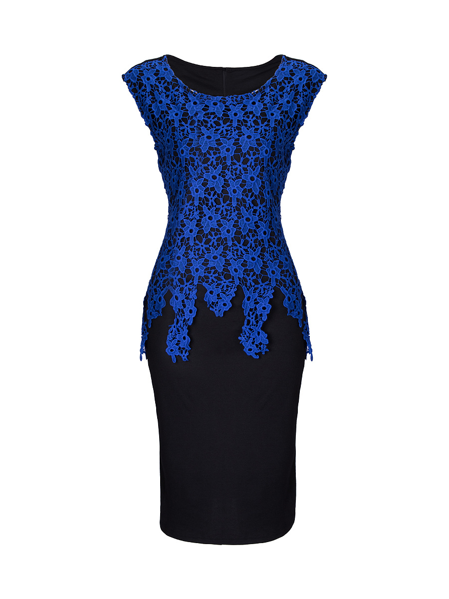 Charming Round Neck Decorative Lace Split Bodycon Dress