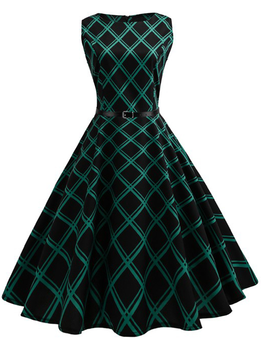 Vintage Plaid Belt Midi Skater Dress