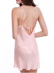 Backless Spaghetti Strap Hollow Out  Decorative Lace  Satin Nightgown
