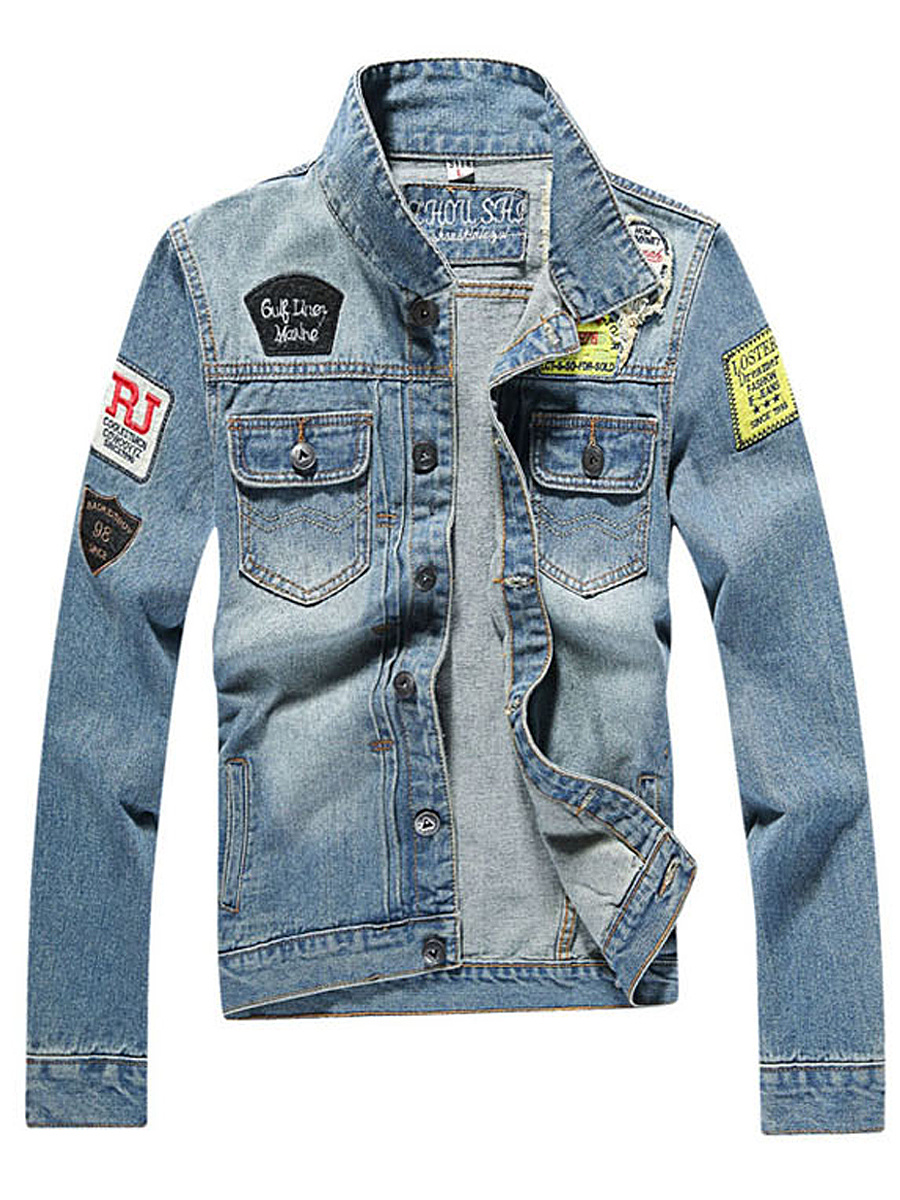 Denim Badge Flap Pocket Ripped Light Wash Men Jacket