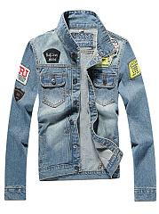 Denim-Badge-Flap-Pocket-Ripped-Light-Wash-Men-Jacket