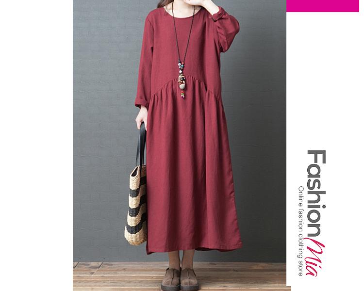 Oversized Round Neck  Plain Maxi Dress