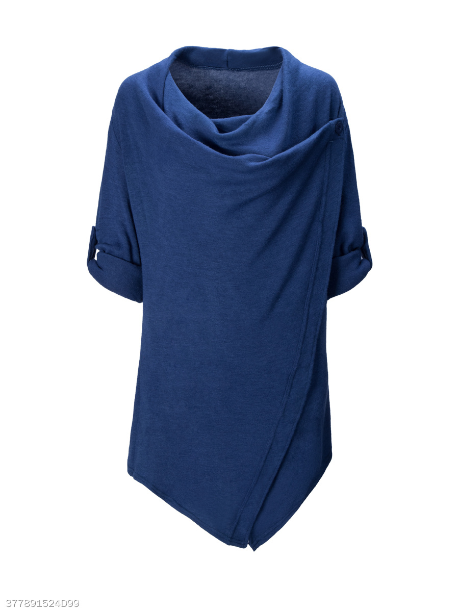 Cowl Neck Asymmetric Hem Plain Roll-Up Sleeve Cardigan
