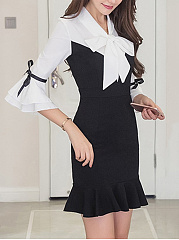 Tie Collar Color Block Bell Sleeve Mermaid Bodycon Dress