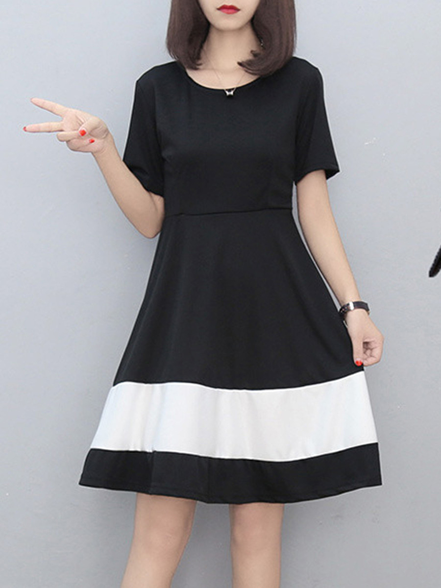 Round Neck Color Block Skater Dress