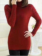 Turtleneck-Decorative-Lace-Plain-Sweater