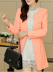 Collarless Pocket Single Button Plain Longline Blazer