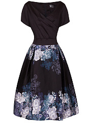 Vintage Elegant V-Neck Floral Printed Inverted Pleat Skater Dress