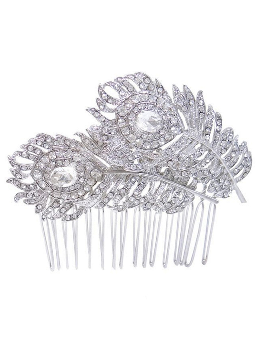 Crystal Feather Shape Silver Hair Comb