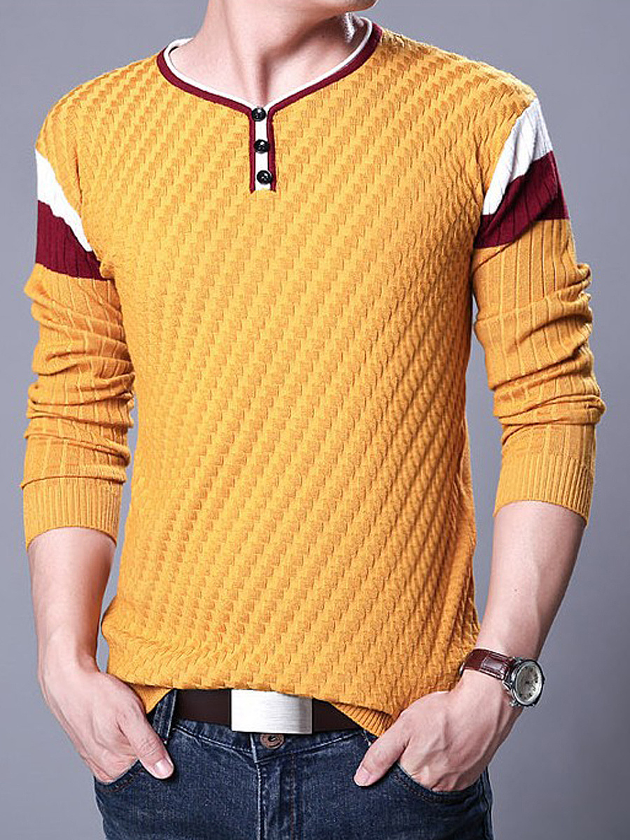 V-Neck Striped Men Sweater