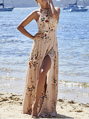 Crew Neck  Backless Side Slit  Printed Maxi Dress