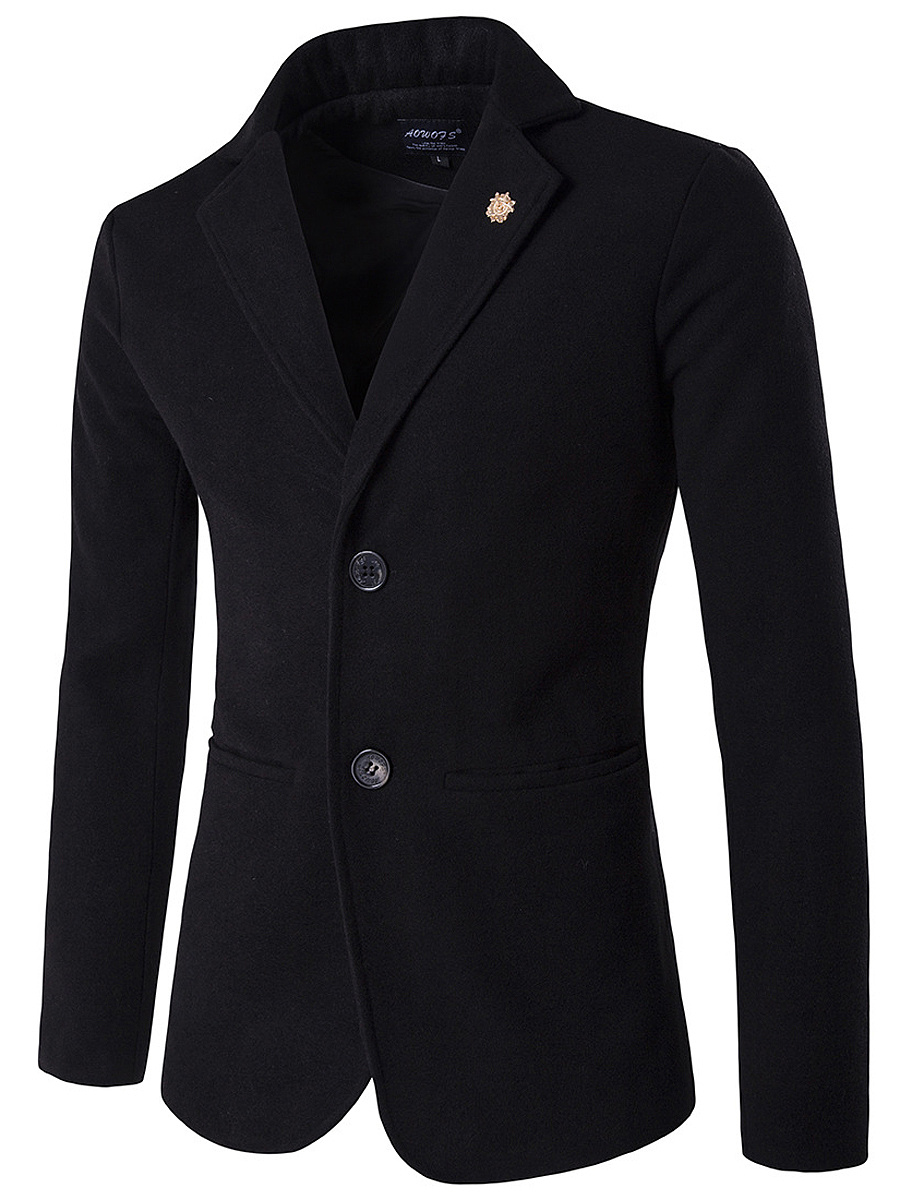 Men Lapel Plain Pocket Woolen Coat With Brooch