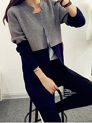 Patchwork  Single Button  Plain  Long Sleeve Cardigans
