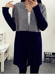 Patchwork-Single-Button-Plain-Long-Sleeve-Cardigans