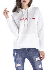 Embroidery Kangaroo Pocket Loose Hoodie