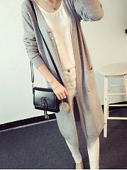 Single Breasted  Plain  Long Sleeve Coats