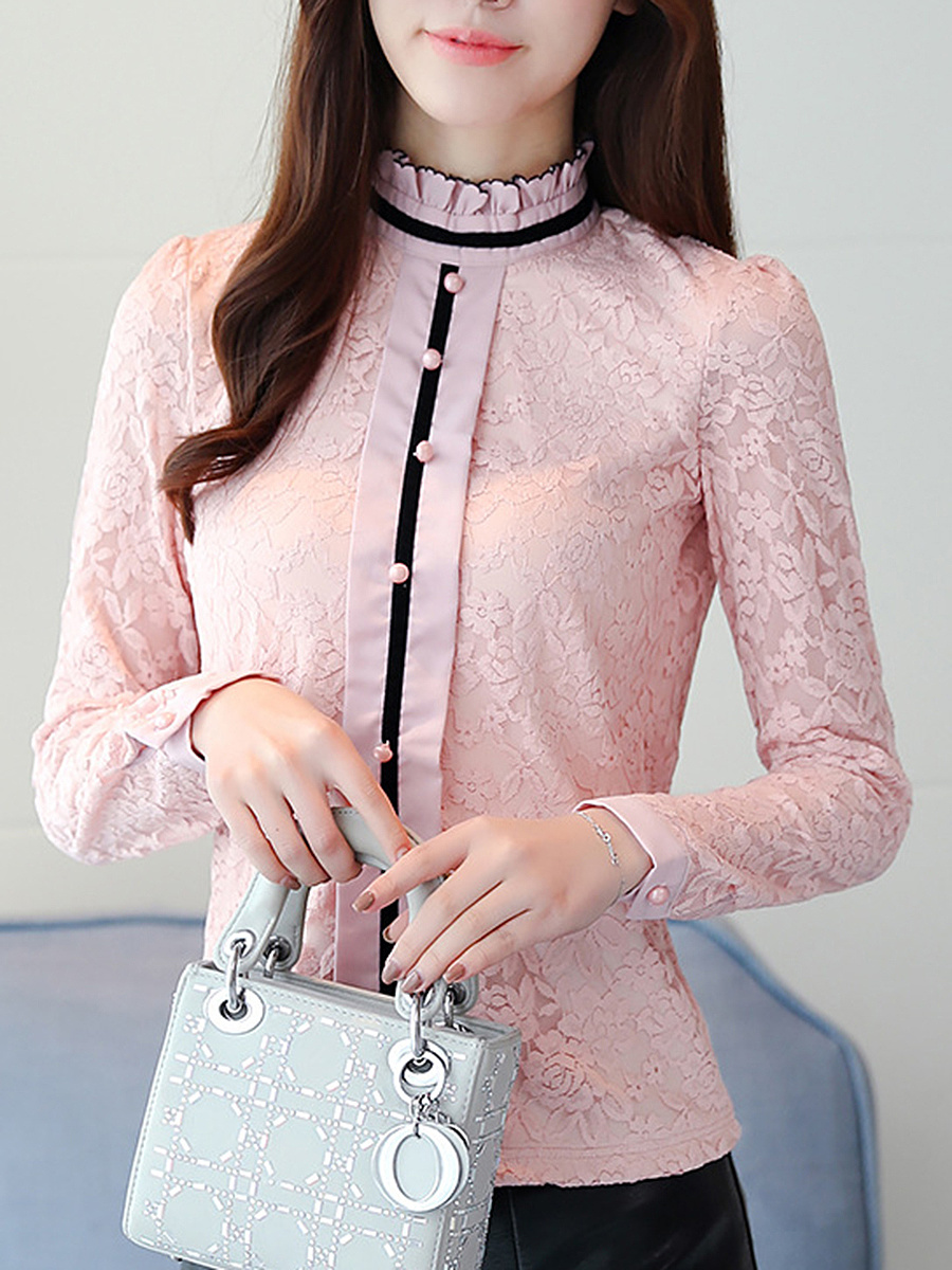 Band Collar Lace Decorative Button Blouse