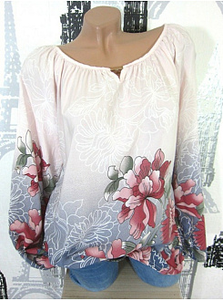Autumn Spring  Polyester  Women  Round Neck  Floral Printed  Long Sleeve Blouses