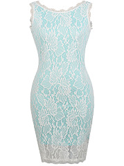 Round Neck  Hollow Out  Lace Bodycon Dress