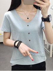 Summer  Cotton  Women  V-Neck  Decorative Button  Plain  Short Sleeve Blouses
