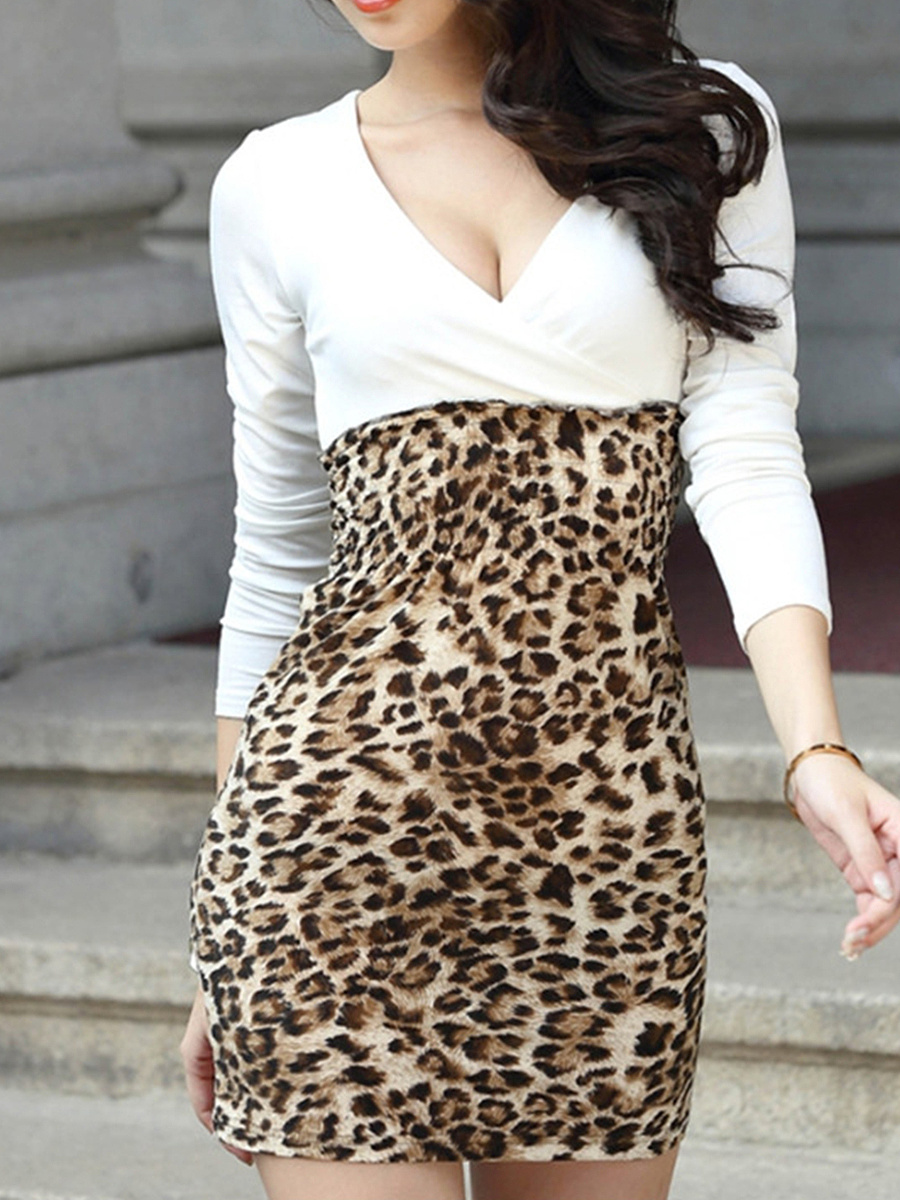 Deep V-Neck Leopard Mini Bodycon Dress