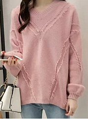 V-Neck  Plain  Long Sleeve Sweaters Loose Pullover